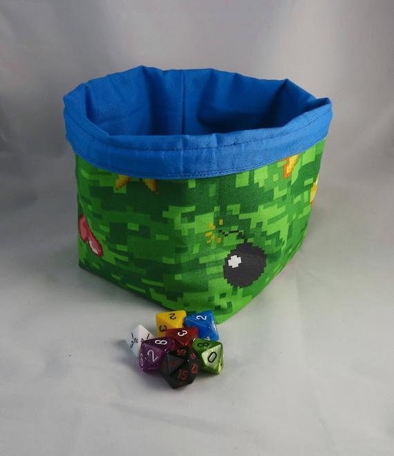 Pixel Art Dice Bag Tile Pouch Minecraft Inspired Freestanding Cotton Reversible Cord Drawstring Handmade Rpg D D Die Holder
