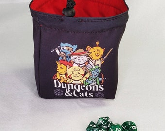 Cat D&D Dice Bag, Dungeons and Cat Tile Pouch, Bag of Holding, Treasure Nest, Board Game bag, Freestanding Cloth Bag, Drawstring Storage Bag
