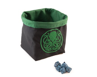 Cthulhu Dice Bag - Green Tile Pouch - Cotton - Freestanding - Reversible - Cord Drawstring - Handmade - RPG D&D Die Holder - Gift for Gamers