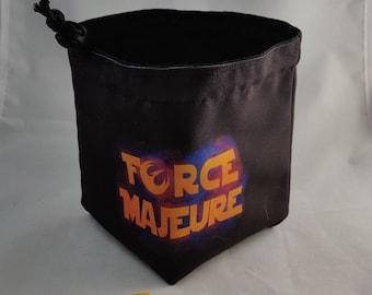 Force Majeure Dice Bag, Tile Pouch, Bag of Holding, Treasure Nest, Board Game bag, Freestanding Cotton, Drawstring, Storage bag, RPG D&D D20