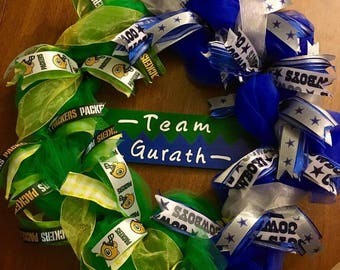 House Divided Wreath - Cowboys - Packers - Pick your sport and teams!