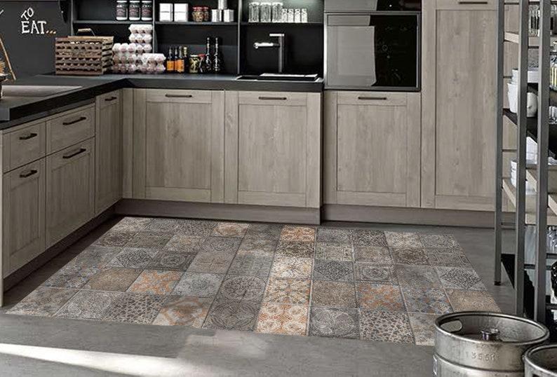 Kitchen Floor Mat, PVC Linoleum Rug, Bedroom, Living Room, Vinyl, Pet Rug,  Vintage Tiles, Home Design, Home Decor