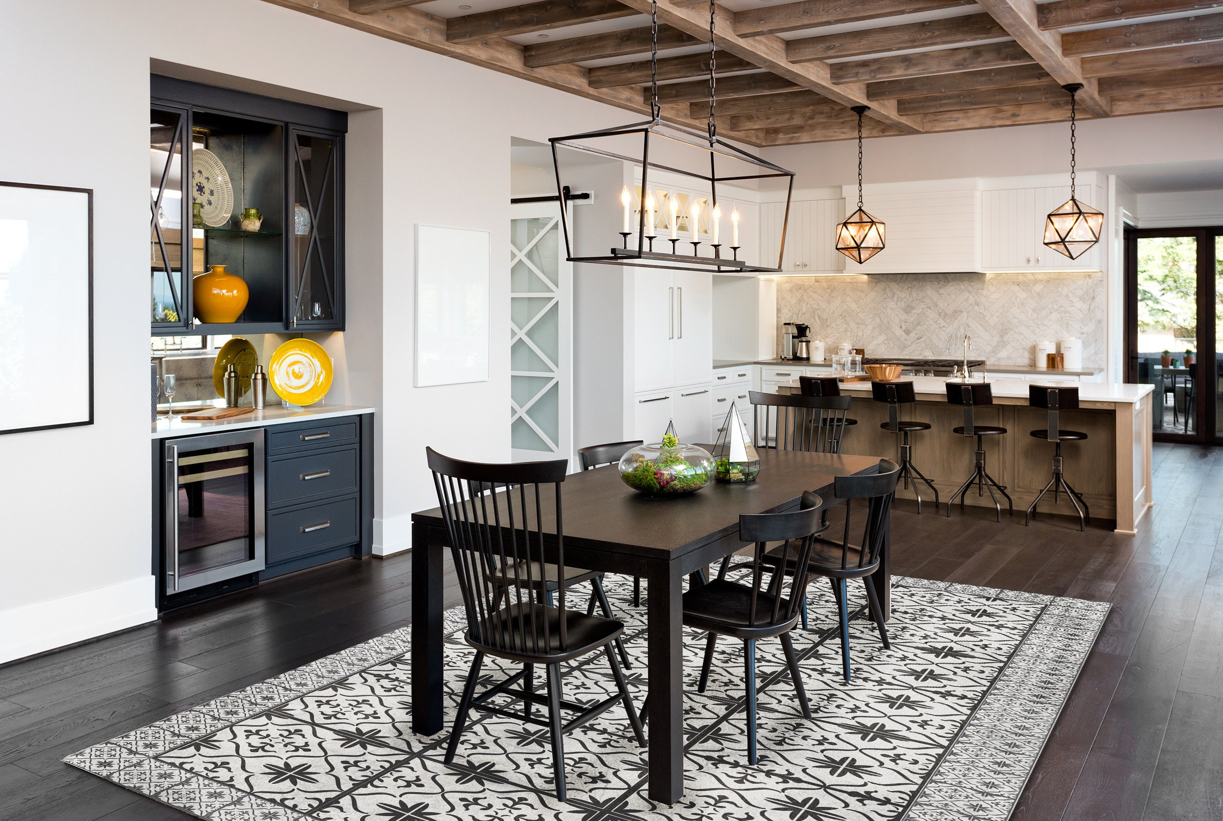 Black And White Dining Room Mat, Vinyl Rug For Dining Room