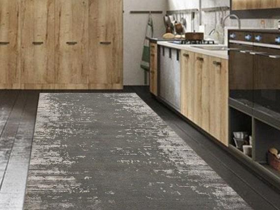 Linoleum Rug, PVC Rug, Gray Vinyl Floor Mat, Abstract Kitchen Floor Mat,  Modern Carpet, Linoleum Floor Mat, Gray Vinyl Flooring