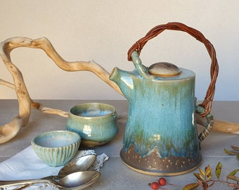 Turquoise and Green stoneware teapot, Wedding gift, homeware, pottery, hand thrown, 9th anniversary, wedding gift
