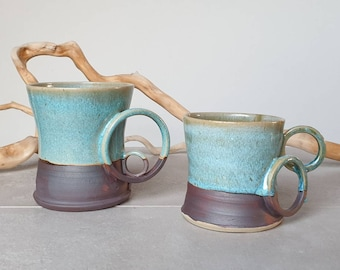 Ready to ship: Glazed Green and Rusty Stoneware coffee or tea mugs with ring shaped handles, gift for him, gift for couple, Christmas