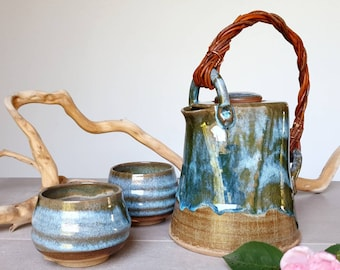 Ready to ship: Blue and beige stoneware teapot and cups, handmade pottery, Wedding gift, 9th Anniversary