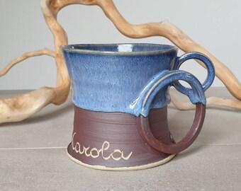 Custom made mug, Mug with Name, personalized, wheelthrown mug, stoneware mug, stoneware, pottery mug, birthday gift, mom's day, dad's day