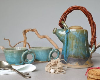 Blue/green stoneware teapot and cups, handmade pottery, Wedding gift, 9th Anniversary