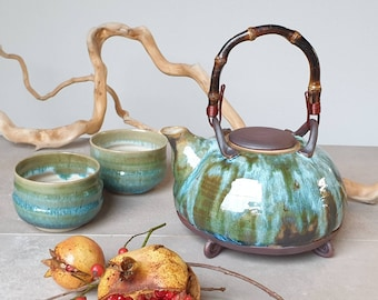 Ready to ship: Round Shaped Green and Light Blue Stoneware Teapot, Pottery, Homeware, Mother's day, Wedding Gift