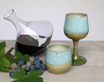 Ready to ship: Stoneware goblet water glass, wine chalice, handmade cup, ceramic, pottery, tumbler