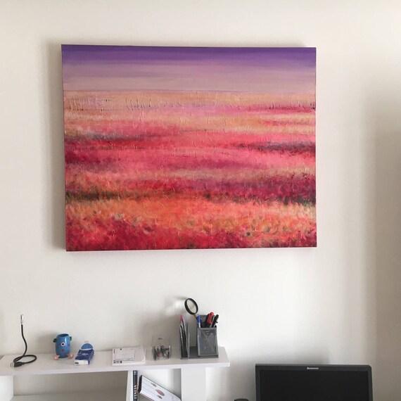 QUADRO grande per soggiorno salone. Dipinto toni del rosso | Etsy