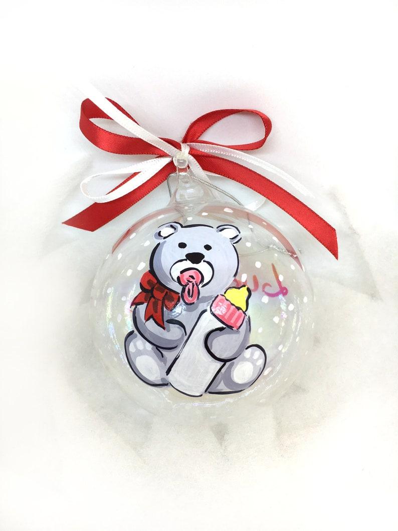 NASCITA pallina di Natale personalizzata con nome e orsetto.  59a84ce3a24b