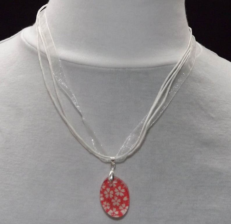 Red White Flower Resin pendant with origami paper