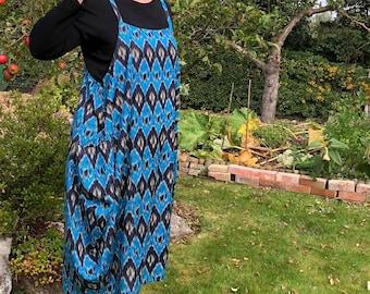 Georgina -Balloon Hem Dress - Cool Comfortable, One Size - Ekat- Boho - Print Cotton