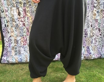 Bobbie - Warm Fleece Harem Pants, One-size Black Cosy - Boho Style -Yoga Pants
