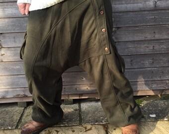 Warm Harem Pants - Cosy Fleece - Boho Style -Yoga Pants - Black - Green - Teal
