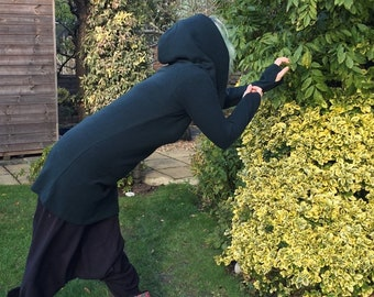 Elphine - Fairy Elf Strega Style Oversize Collar/ Hood Black Cosplay Alternative Pullover Jumper Tunic Hoodie Dress