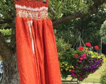 Beth - Silky Harem Pants, Cool and Comfortable, One Size - Boho - Hippie - Festival -Yoga- Harem- Unisex - Trousers Orange