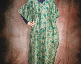Vintage Sari Kaftan All in One Cool Comfortable, One Size - Summer- Boho - Festival -Yoga- Holiday