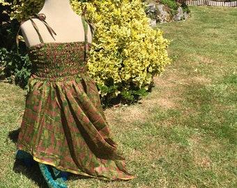 Mini Freya Children's Fairy Dress, Up cycled Vintage Sari Silk, One Size - Kids - Handkerchief Hem Layered Skirt - Adjustable Straps
