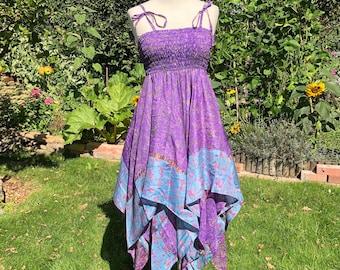 Freya Dress, Skirt or Top- Adult Fairy Dress - Repurposed Sari - Smocked Elasticated Panel - Adjustable shoulder straps - Handkerchief Hem