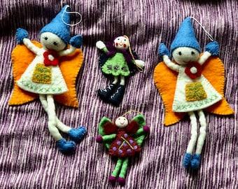 Fairy - Fabulous Felt Tooth Fairy, Attractive Angel. Wool Felt Decoration Christmas Fairy