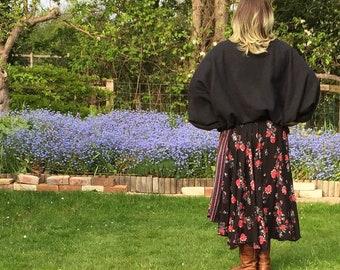 Bella Jumper -  Boatneck Batwing Warm Pullover , One-size Black Fleece - Cosy - Boho Style