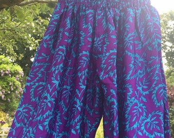 Silk Harem  Waist Baggy Summer Trousers , Cool and Comfortable, One Size - Boho - Hippie - Festival -Yoga- Harem- Unisex - Purple Blue