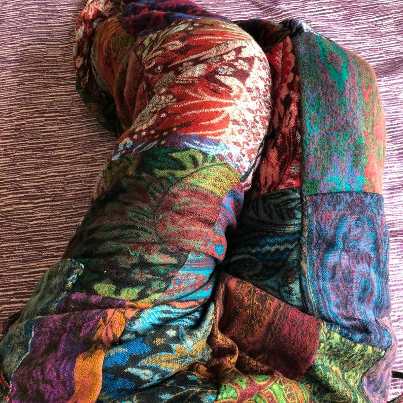 Natanya  Adult Patchwork Blanket Jogger Pants Bright Print image 1