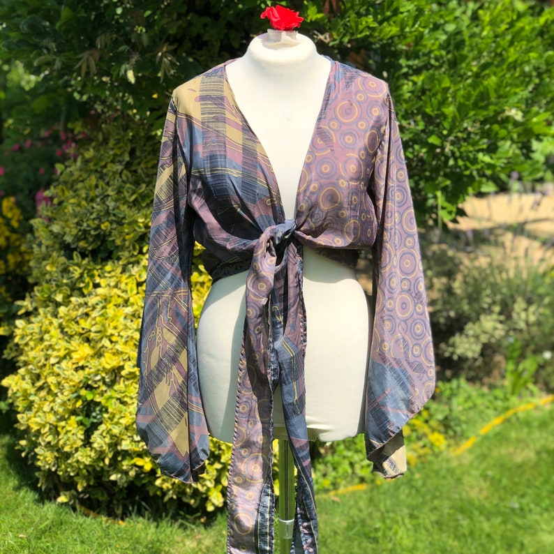Ella  Vintage Sari Bell Sleeved Top  Summer Jacket  Vintage Grey