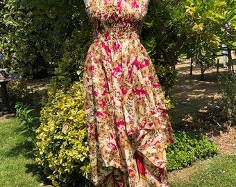 Roma Dress, Skirt or Top- Adult Fairy Dress - Repurposed Sari - Smocked Elasticated Panel - Adjustable shoulder straps - Handkerchief Hem