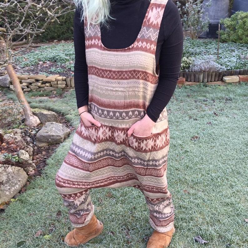 Anna  Blanket Harem Style Romper Playsuit Dungarees Brown