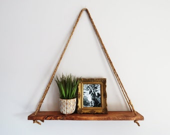 Hanging Triangle Shelf O Wall Decor Color Options Rope Wooden Lightweight Nautical Rustic