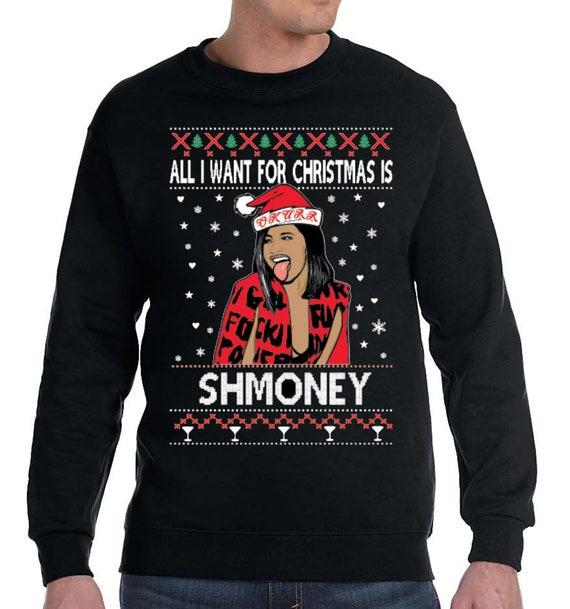 Cardi B Rap Hiphop Ugly Christmas Sweater Fleece Black Crew Etsy