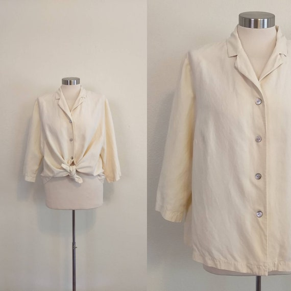 80s Neutral Silk and Linen Boxy Blouse
