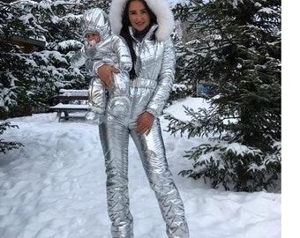 Winter Jumpsuit Women Men Metallic Silver Ski Snow Suit Glanznylon Glossy  Shine Nylon Female Male Warm Overall Outwear Outfit Winter Fur 2181c54295