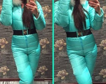 Womens Winter Jumpsuit Playsuit Romper White Warm Sport Ski Tracksuit Overall Faux Fur Clothing Nylon Waterproof Winteranzug Fell Skianzug