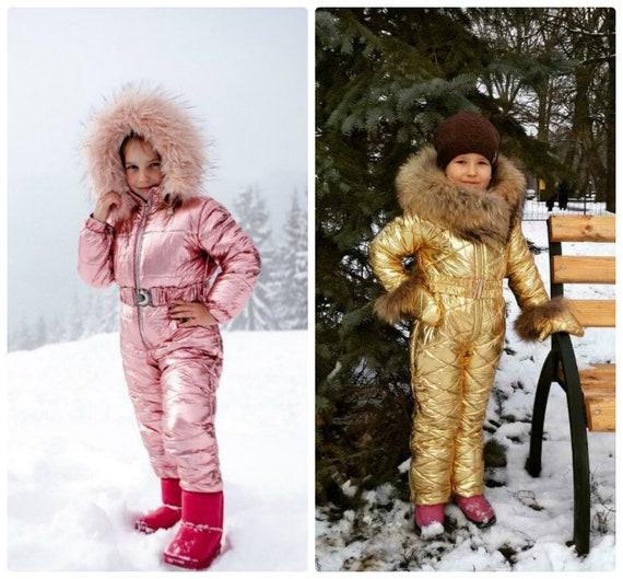 05a2074cb6 Metallic Ski Snowsuit Suit Romper Jumpsuit Winter Children