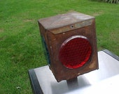 Vintage 1940 Old Railroad Square Head Boxed Steel Switch Refector Red Blue Corning Glass Lenses Scarce Primitive Rail Swap Meet Swag RARE