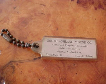 c0754af04 1950s South Ashland Motor Company Vintage Key Chain Chryslery Plymouth  Southside of Chicago Whiskey Row Logos Ball Chain MoPaR Collectible