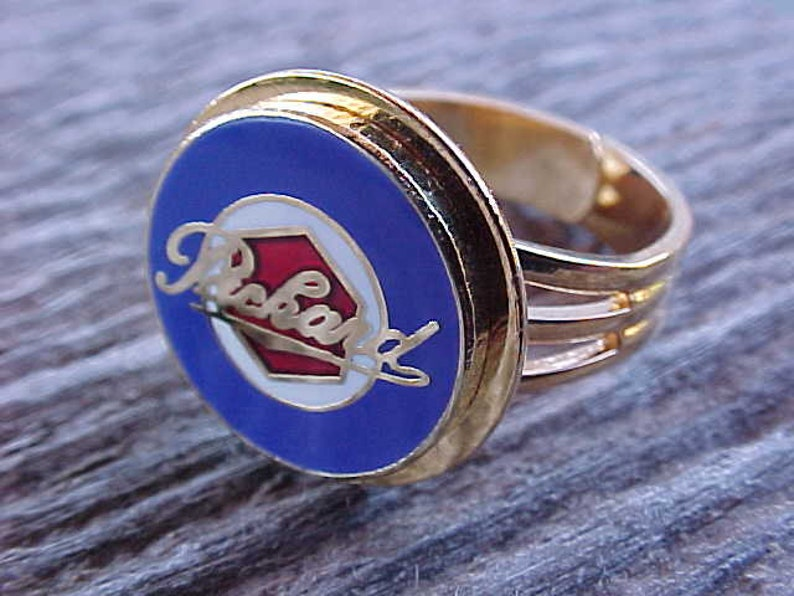 Classic Packard Hexagon Crest Gold Chrome Ring Adjustable Unique Custom Crafted Classy Elegant Swag Ol Skool Bling You Can Wear OOAK