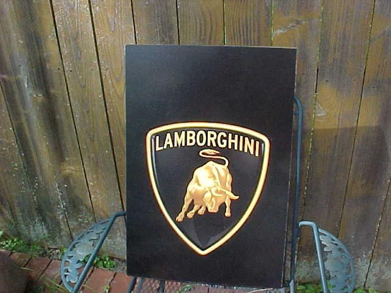 Lamborghini Dealership Wood Panel Sign Beautiful Color Bull Etsy