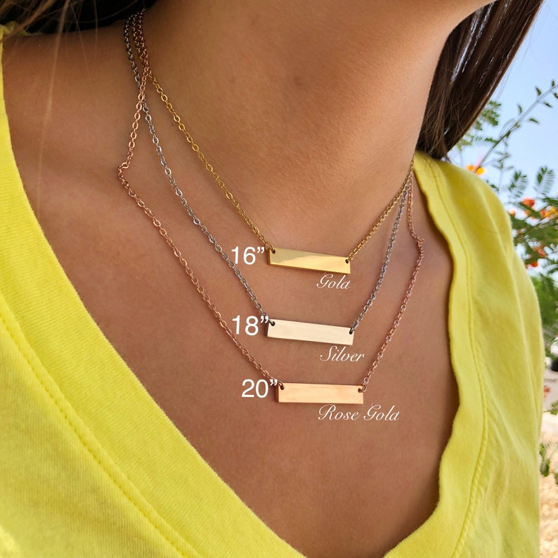 Durable Necklace Chain DIY Chain 18-20 Gold Plated Stainless Steel Bar Necklace Blank for Jewelry Silver Rose Gold plated