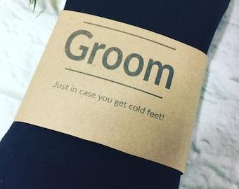 Groom gift socks, groom in case you get cold feet socks, gift for the groom, groom wedding day gift, groom gift from the bride, groom socks