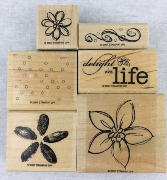 Stampin Up DELIGHT IN LIFE Set of 6 Decorative Rubber Stamps Retired
