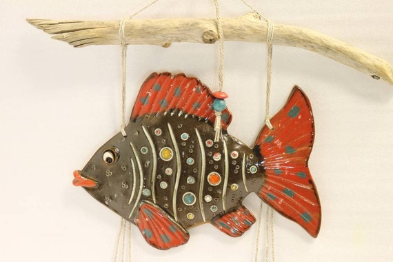 Dollhouse mini 1:12 handcrafted gone fishing sign w//3 fish dangling from string