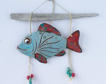 Ceramic fish wall decor Blue fish decor with driftwood stick Fish art Fisherman birthday gift New home gift cabin wall art fish coastal art