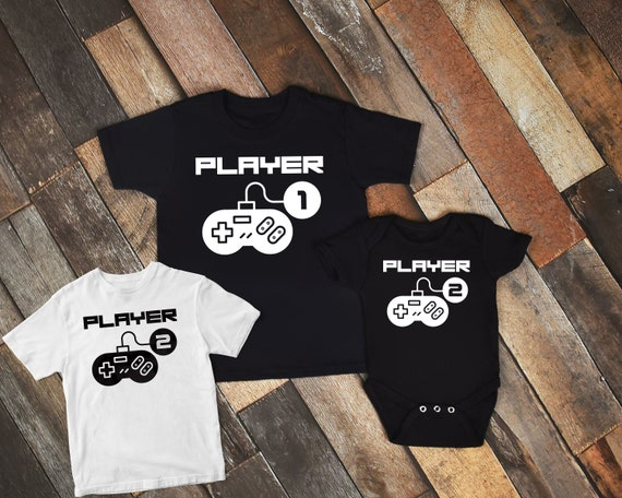 Matching Dad Baby Player 1 Player 2 Father Son Matching Shirts Father/'s Day