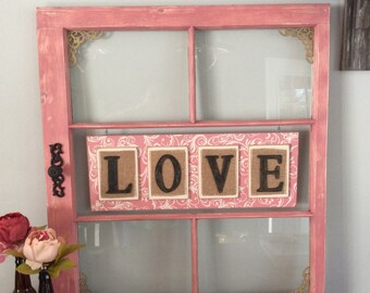 Repurposed Window Frame In Dusty Pink,Reclaimed Window Frame,Old Window Frame,Love,Rustic Frame,Rustic Home Decor,Rustic Wedding Decor